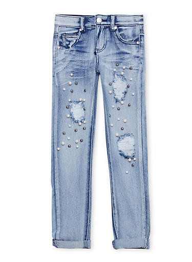 Girls 7-16 Faux Pearl Studded Jeans,DENIM,large