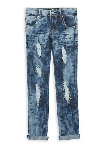 Girls 7-16 Cloud Wash Destroyed Jeans,MEDIUM WASH,large