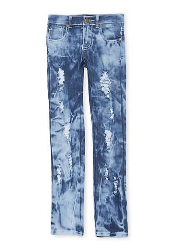 Girls 7-16 Medium Wash Distressed Jeans,MEDIUM WASH,large