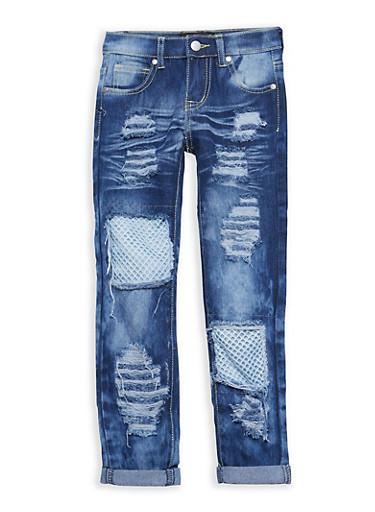 Girls 7-16 Whisker Wash Fishnet Jeans,MEDIUM WASH,large