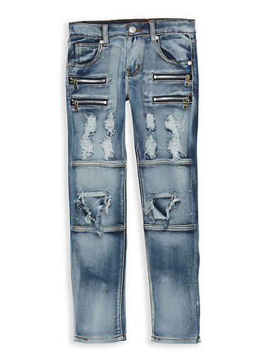 Girls 7-16 Destroyed Jeans with Zipper Detail,DENIM,large