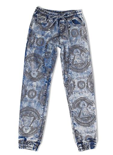 Girls 7-16 Four-Pocket Money Print Acid-Wash Denim Joggers With Drawstring,DENIM,large