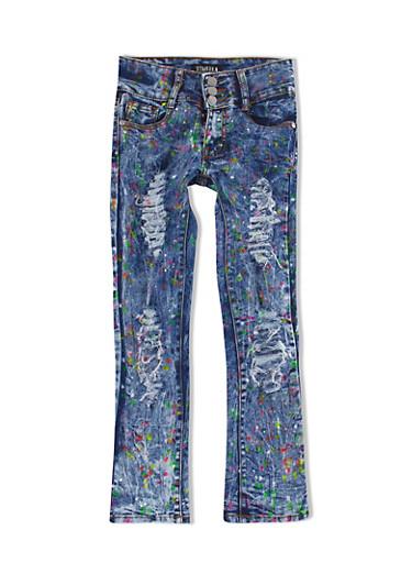 Girls 7-16 Three-Button Multi-color Paint Splattered Acid-Wash Skinny Jeans,DENIM,large
