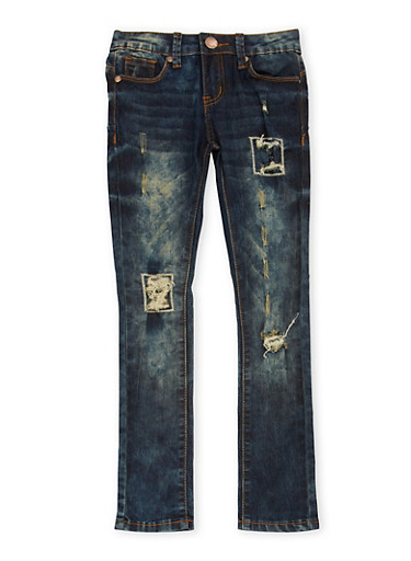 Girls 7-16 VIP Skinny Jeans with Rip and Repair Details,DENIM,large