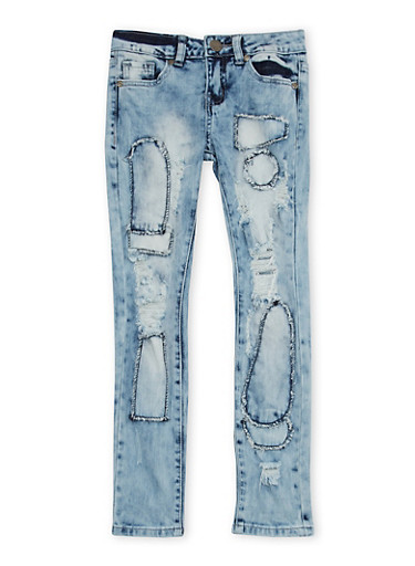Girls 7-16 VIP Patched Skinny Jeans,DENIM,large