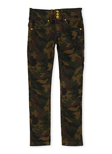 Girls 7-16 VIP Camo Print Skinny Pants,DENIM,large