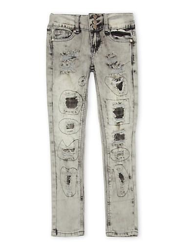 Girls 7-16 VIP Skinny Jeans with Rip and Repair Details,DENIM,large