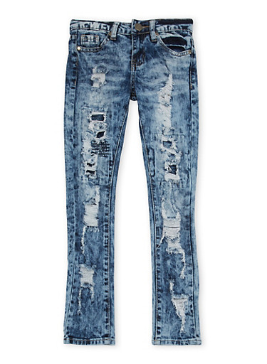 Girls 7-16 VIP Distressed Skinny Jeans in Acid Wash,DENIM,large
