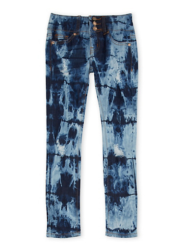 Girls 7-16 VIP Skinny Jeans in Tie Dye Wash,DENIM,large