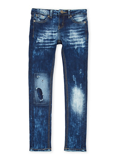 Girls 7-16 VIP Rip and Repair Skinny Jeans,DENIM,large
