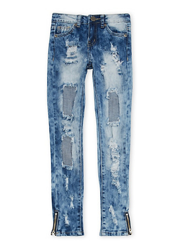 Girls 7-16 VIP Ripped Skinny Jeans in Acid Wash,DENIM,large
