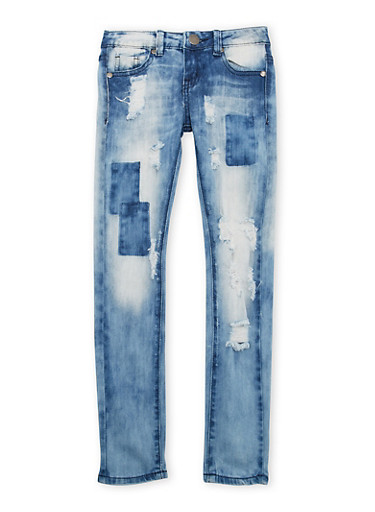 Girls 7-16 VIP Distressed Skinny Jeans with Patches,DENIM,large