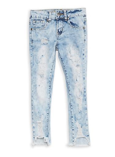 Girls 7-16 VIP Destruction Skinny Jeans,MEDIUM WASH,large