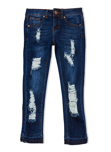 Girls 7-16 VIP Dark Wash Destroyed Jeans,DARK WASH,large