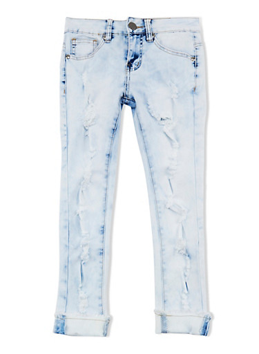 Girls 7-16 VIP Destruction Cuffed Skinny Jeans,LIGHT WASH,large