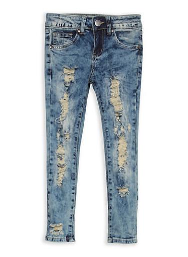 Girls 7-16 VIP Destruction Skinny Jeans,DENIM,large