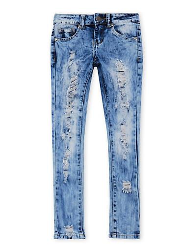 Girls 7-16 VIP Acid Wash Ripped Jeans,MEDIUM WASH,large