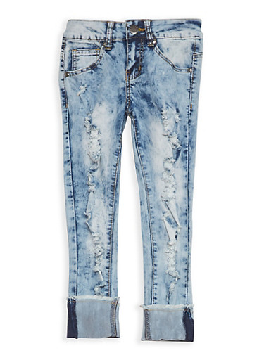Girls 7-16 VIP Acid Wash Ripped Jeans,LIGHT WASH,large
