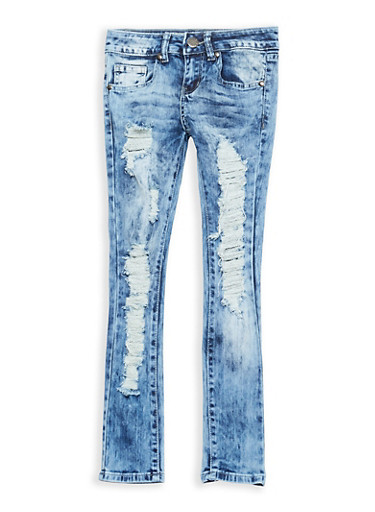 Girls 7-16 VIP Destruction Skinny Jeans,MEDIUM WASH,large