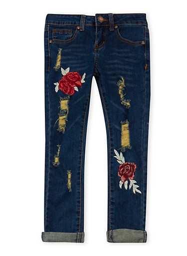 Girls 7-16 VIP Rose Embroidered Jeans,DARK WASH,large