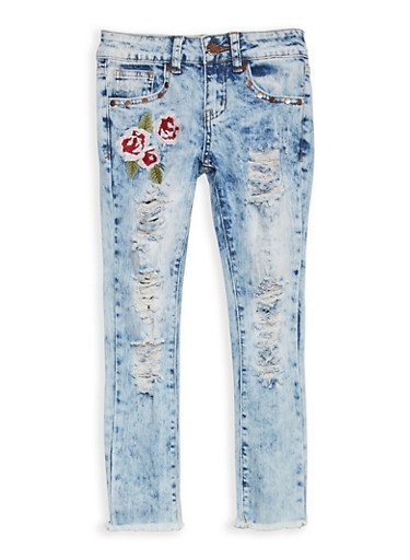 Girls 7-16 VIP Embroidered Destruction Skinny Jeans,MEDIUM WASH,large