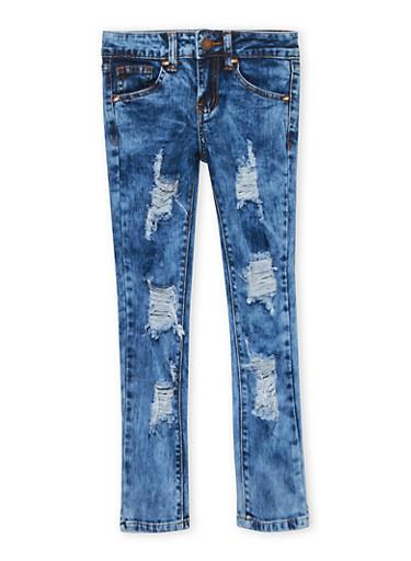 Girls 7-16 VIP Acid Wash Distressed Jeans,LIGHT WASH,large