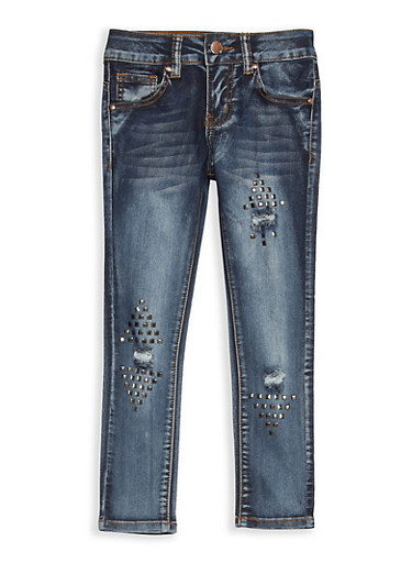 Girls 7-16 VIP Studded Distressed Jeans,DARK WASH,large