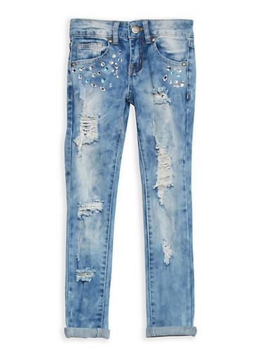 Girls 7-16 VIP Destruction Jeans with Rhinestones,DENIM,large
