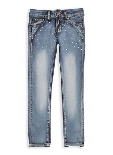 Girls 7-16 VIP Dark Wash Faux Pearl Accented Jeans,DARK WASH,large