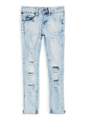 Girls 7-16 VIP Destroyed Skinny Jeans,DENIM,large