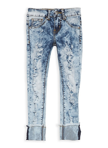 Girls 7-16 VIP Acid Wash Ripped Jeans,DARK WASH,large