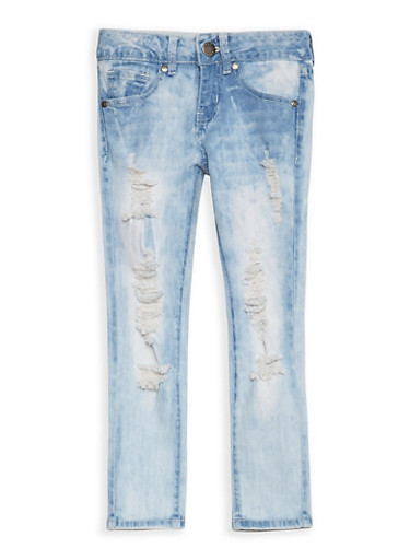 Girls 7-16 VIP Distressed Jeans,LIGHT WASH,large