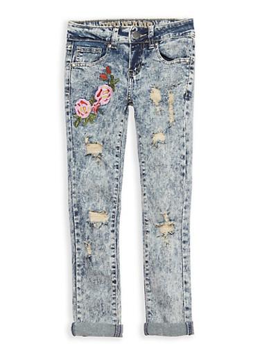 Girls 7-16 VIP Acid Wash Floral Embroidered Skinny Jeans,DARK WASH,large