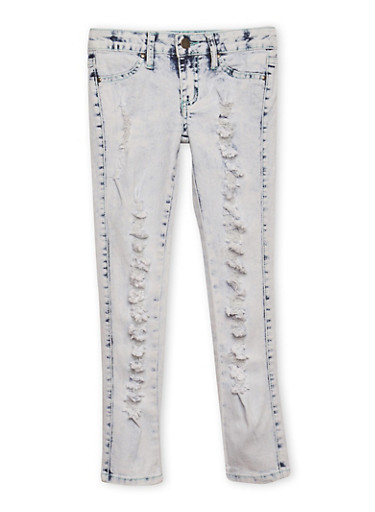 Girls 7-16 Ripped Bleach Wash Skinny Jeans,DENIM,large