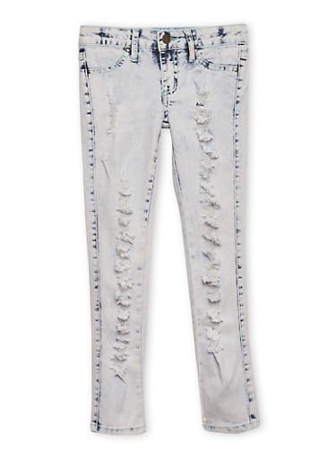 Girls 7-16 Ripped Bleach Wash Skinny Jeans,DENIM,large