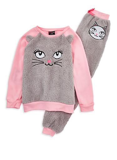 Girls 7-16 Fuzzy Cat Pajama Set,HEATHER,large