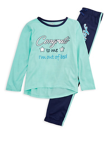 Girls 7-16 Graphic Print Pajama Set,AQUA,large