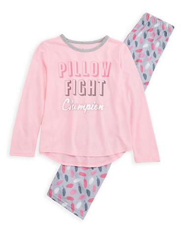 Girls 7-16 Pillow Fight Champion Pajama Set,PINK,large