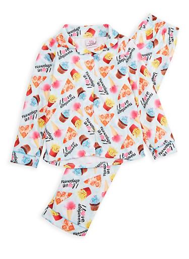 Girls 7-16 Junk Food Graphic Pajama Set,MINT,large