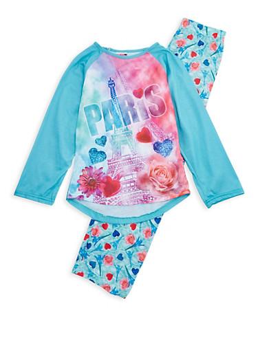 Girls 7-16 Paris Graphic Print Pajama Set,MINT,large
