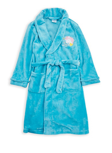 Girls 4-6x Unicorn Graphic Fleece Robe,TURQUOISE,large