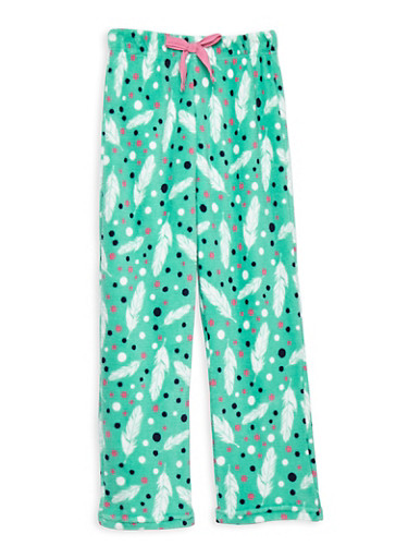 Girls 7-16 Feather Fleece Pajama Pants,MINT,large