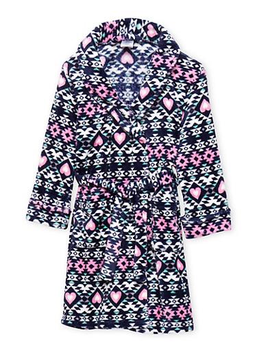 Girls 4-16 Aztec Print Fleece Robe,NAVY,large