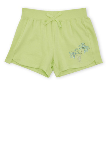 Girls 7-16 Knit Drawstring Shorts with Sequin Detail,SHARP GREEN,large
