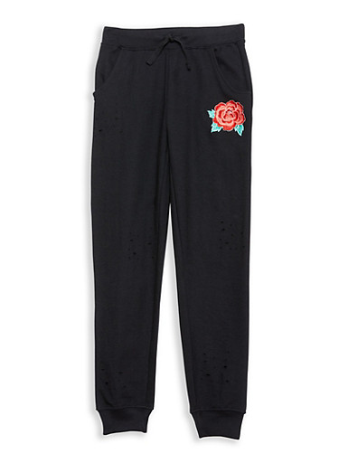 Girls 7-16 Distressed Rose Embroidered Joggers,BLACK,large
