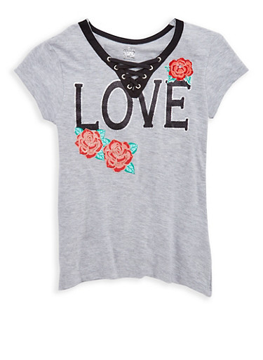 Girl 7-16 Lace Up Glitter Graphic T Shirt,HEATHER,large