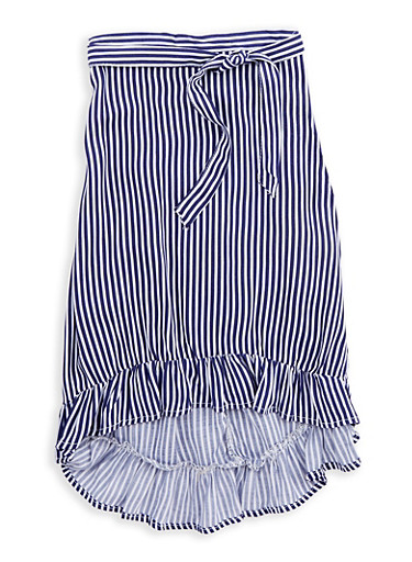 Girls 7-16 Striped High Low Skirt,NAVY/WHT,large
