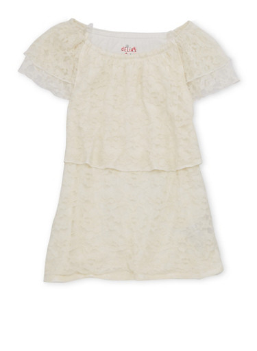 Girls 7-16 Off the Shoulder Lace Tiered Top,IVORY,large