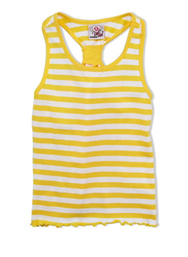 Girls 7-16 Striped Tank Top with Knot Racerback,YELLOW,large