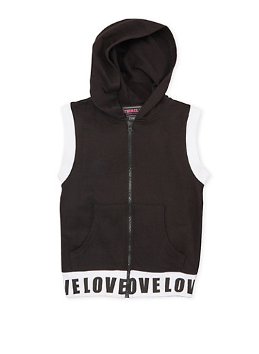 Girls 7-16 Sleeveless Love Trim Hoodie,BLACK,large